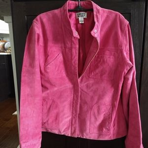 Fun, Sexy Pink Chico's Sueded Leather Jacket